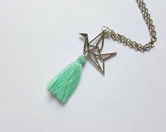 Origami and green tassel necklace