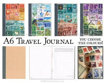 Pocket Travel Diary | Unique A6 Travel Journal Notebook | Custom Colour World Stamp Memory Book | Boho Travel Gift Upcycled Vacation Journal