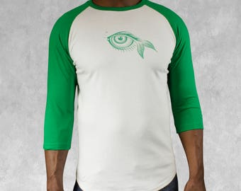Baseball Jersey for men 3/4 sleeve T-shirt green and white with eye design handprinted top raglan style long sleeve tshirt gift for him
