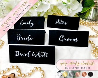 Black and White Place Cards, Calligraphy Place Cards, Brush Lettering Place Cards, Black and White, Modern Calligraphy, Brush Lettering