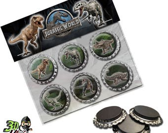 Jurassic World Magnets | Bottle Cap Magnets | Party Favors | Gift