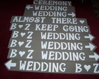 rustic wedding signs , reception sign , ceremony sign , almost there sign , wedding decorations , wedding signage, bridal shower sign