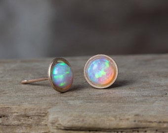 Rose Gold Earrings, Rose Gold Studs, Rose Gold Opal Earrings, Opal Studs, White Opal Studs, Blue Opal Studs, October Birthstone, Simple Stud