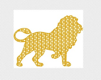 Lion Embroidery Design File -motif fill with bean stitch edge- multiple formats - one color design -4 sizes - instant download