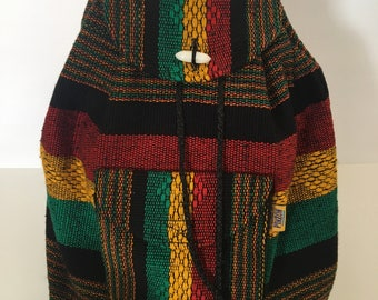 Mexican handwoven backpack/black red yellow green backpack/bob marley/ready to ship/free shipping