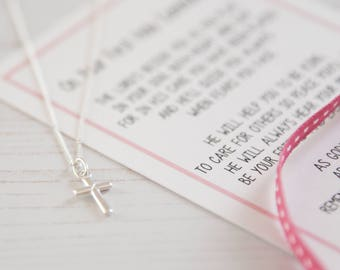 Girls Holy Communion Necklace, Holy Communion Gift For Her, Silver Necklace Gift, Silver Jewellery, Cross Necklace, Charm Necklace For Girls