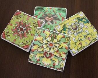 Stone Coasters - Retro Doodles II // Tumbled Marble Tile Coasters // Set of 4 // Hostess Gift // Housewarming Gift