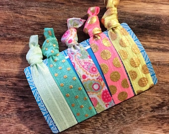 Polka dot hair ties, Paisley Polka Dot Hair Tie Set - Ready to ship