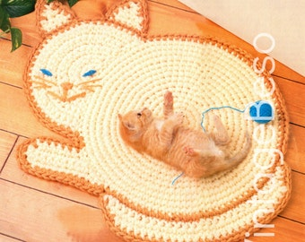 INSTANT DOWNlOAD - PDF Pattern - Kitty Cat Mat Crochet PATTERN Vintage - Pet Rug - Crochet Pattern - Cat Wall Decor