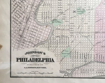 Philadelphia,  Antique Map 1872, Original Antique