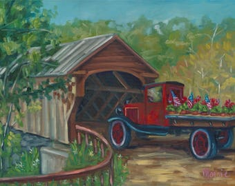 Out for delivery, original art, oil painting, fall art, landscape, americana