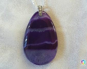 Purple druzy agate necklace