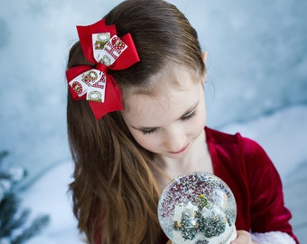 Christmas Bows Santa Hair Bow For Girls
