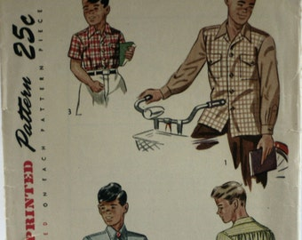 Simplicity 2049 - Boys Shirt Sewing Pattern - 1940's - Vintage - Size 12