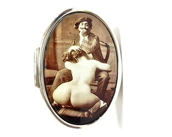 """Victorian style 925 sterling silver enamel erotic pill trinket snuff box depicting """"the artist"""""""