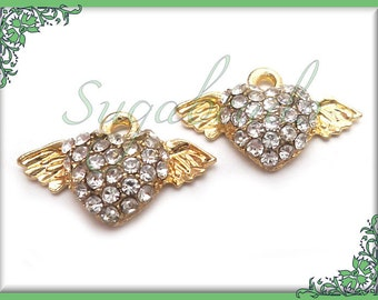 4 Bright Gold Winged Heart Charms 19mm