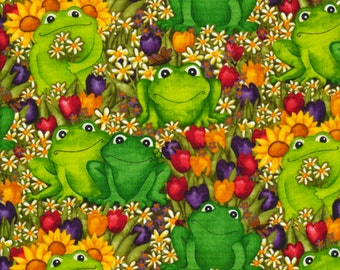 Timeless Treasures - Rainbow Rainforest - Frogs in the Garden - Green - Fabric by the Yard C6033-GRN