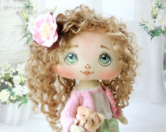 Cute textile doll Art doll OOAK Collectible doll interior doll Cloth Soft doll Rag doll Fabric doll Vintage doll Artist doll Poupee