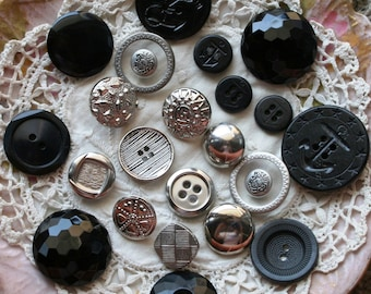 Assorted Black and Silver Buttons