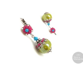 Fuchsia pink leverback earrings, olivine and pink earrings, boho earrings, ethnic chic earrings, handmade earrings pink