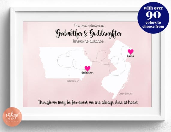 Godmother Gift Goddaughter Gift Long Distance Gift: Godmother Gift From Goddaughter Map Art Personalized Art