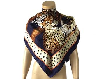 "Vintage Ostinelli Leopard Italy Silk Scarf 33x33"""
