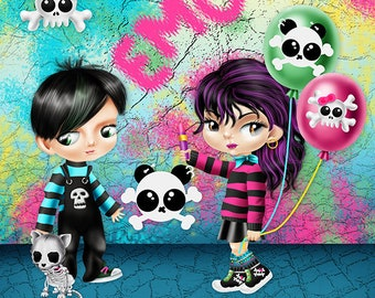 Emo Kids Clipart |Emo Clipart | Commercial Use| Illustrations| Instant Download