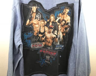 Custom Vintage Wrangler Pro Rodeo Denim Long Sleeve Button Down Shirt X WWE World Wrestling Entertainment Graphic T Shirt