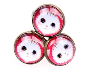 Cat earrings, Cat ring, cat set 1616