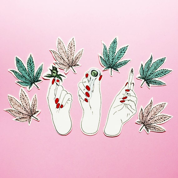 Hand stickers grunge fashion pink sticker smoking blunt fun girl from shopmoonbacon on etsy studio