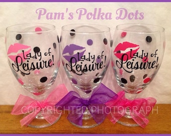 Personalized LADY OF LEISURE Funny Wine Glass Goblet Stemless with Name on Back and Polka Dots Girlfriend Gift