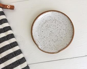 White Speckled Spoon Rest, Wheel Thrown Pottery Spoon Rest, Ceramic, Handmade