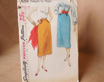 Vintage 50's Skirt Pattern, Simplicity 4254, Waist 26, Rockabilly, Mad Men Style