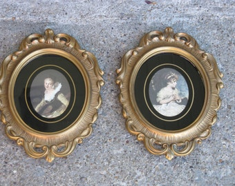 old world prints set of 2 gold ornate frames 8 inches shabby gift idea age of innocence