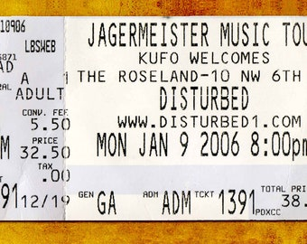 Disturbed Concert Ticket Stub, Portland, OR 2006