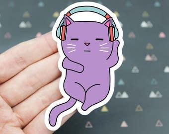 Headphones Sticker, Cat Headphones Sticker, Cat Listening To Music Vinyl Sticker, Laptop Sticker, Rave Cat Sticker, Cat Lover Sticker, Music