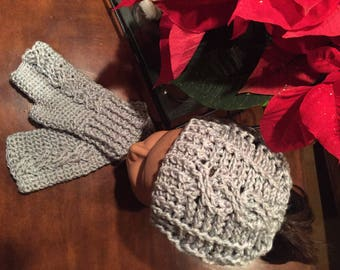 Messy bun hat and fingerless gloves. Cable messy bun hat, cable fingerless gloves. Crochet hat and glove