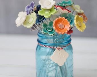 porcelain flower wedding favor, single flower