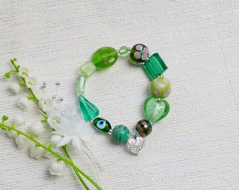 Green bridesmaid bracelet, bridesmaid gift, beaded bracelet, mother in law gift, gift for her, gift for sister, Christmas gift