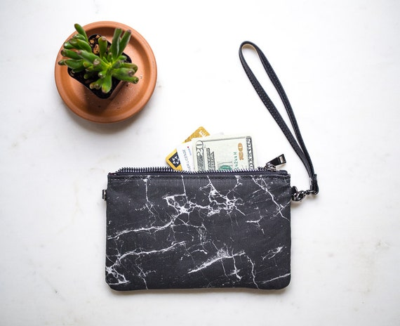 Womens Minimalist Wallet, Leather and Canvas Zipper Purse, Black Marble Bag, Wallet with Strap, Clutch Purse, Card Holder, Gifts for her