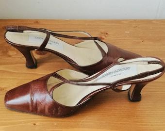 Vintage JOSEPH AZAGURY pointed sling brown kitten heel pumps SIZE 38.5