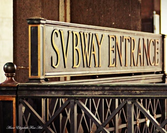 Subway Art, Retro Subway Sign, New York Photography, Dorm Decor, Brooklyn Bridge Subway , Urban Wall Art, Art Deco , Travel , Apartment