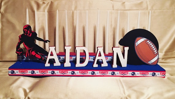 Football Bar Mitzvah Candelabra Centerpiece, Sports Theme Centerpiece, Personalized Mitzvah Candelabra, Football Centerpiece, NY Giants, NFL