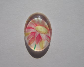 Glass cabochon oval 13 X 18 mm with a pretty flower image pink and yellow