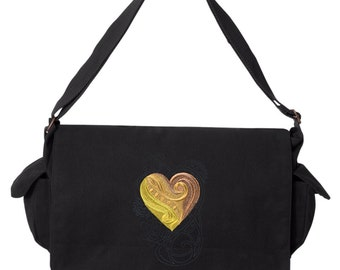 Steampunk Messenger Bag,  Nouveau - Heart Embroidered Canvas Cotton Messenger Bag
