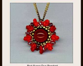 PDF File Tutorial COMMERCIAL . DIY Floral Red Super Duo Beadwoven Pendant . Download . Beadwork - Instructions by enchantedbeads on Etsy
