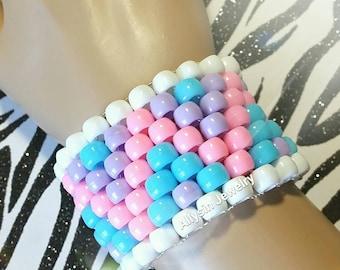 Cotton Candy Kandi Cuff, Pastel Bracelet, Pink ZigZag Raver Plur, Baby Blue Zig Zags, Fairy Kei Jewelry