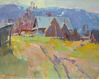 Spring Oil painting, Landscape painting, Rural Landscape, Sunny