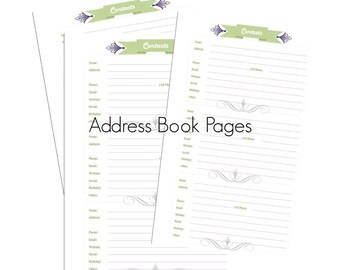 Printable Address and Phone Directory Printable Contact List Address Book Instant Download