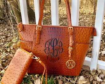 Monogram purse tote - designer inspired bag- monogram pocketbook - brown monogram bag~ monogram ostrich